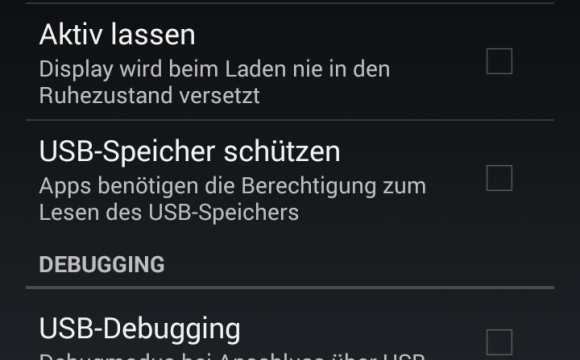 Entwickleroptionen auf Android 4.x aktivieren